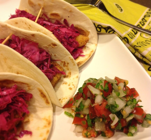 Fish Tacos with Red Cabbage Slaw & Spicy Crema