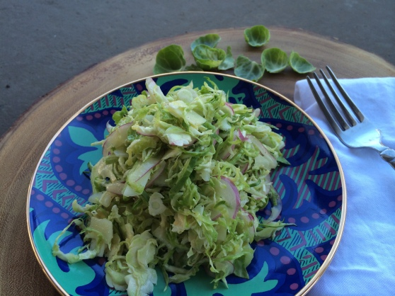 Shave brussel sprout salad in a snap + a versatile lemony white balsamic dressing