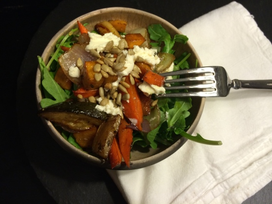 Roasted vegetables with arugula + goat cheese