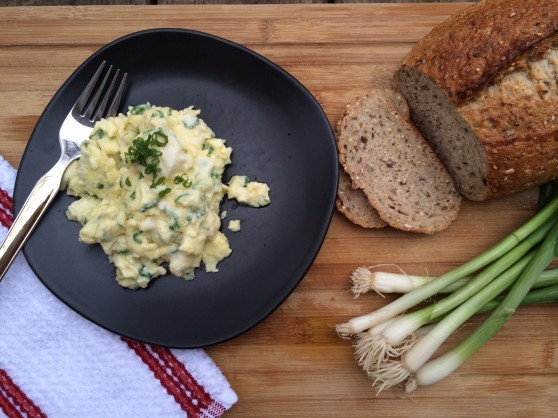 Everyday Scramble with ricotta & scallions